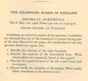 The exam paper set for the Diploma in Anaesthetics, 1948