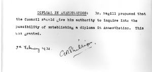 A proposal for a diploma in anaesthetics from 1932 in the AAGBI's minutes