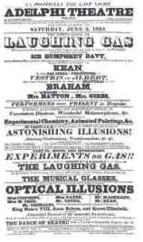 Poster for laughing gas demonstration at the Adelphi Theatre in 1824.