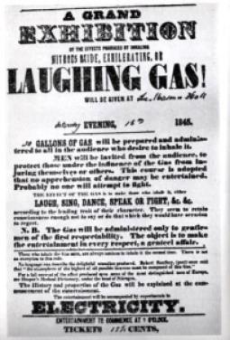 An advert for a laughing gas exhibition from 1845