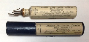Ethyl chloride from 1949. It was sprayed onto a facemask to induce anaesthesia, or applied directly to the skin as a local anaesthetic. It is still used today to treat sport injuries