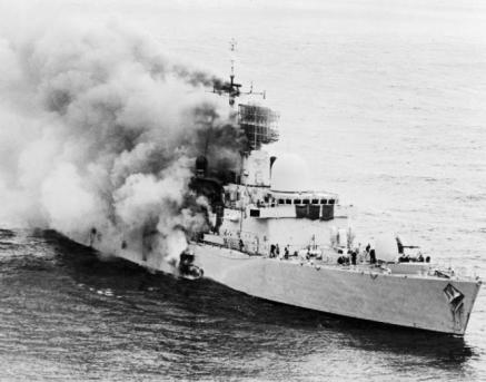 HMS Sheffield on fire after being hit by a missile, IWM (FKD 64)