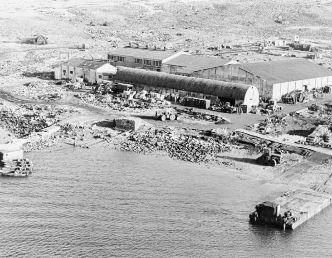Disused refrigeration plant at Ajax Bay, San Carlos, used as a field hospital, IWM FKD93