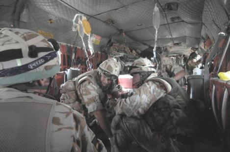 Battle casualty on RAF Chinook on route to Camp Bastion during Operation Silver, 2007